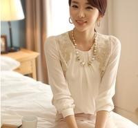 2015 Cheap Fashion Elegant white chiffon blouse Lace Embroidered long sleeve Tops shirt free shipping 150