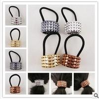 Nice 6pcs/lot DIY Sawtooth Hair Band Horsetail Buckle Metallic Golden/Black Pineapple Style Hair Ring