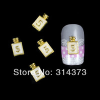 100pcs/lot 10X6mm Gold Bottle White Number 5 Clear Rhinestones Salon Nail Art Cellphone Craft DIY Gel UV Decorations