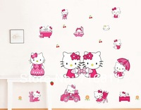 Fee shipping Cheap Kids Hello Kitty PVC Home stickers Wall Decal ,Wallpaper,  House Sticker for girls' room,kitty cat