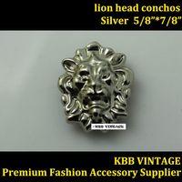 10pc Small Lion-Head Conchos Screwback Conchos Leathercraft Silver