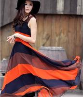 Hot 2014 Boho Summer Women's Color Block Chiffon Long Pleated Stripe Sleeveless Dresses Casual Dress Free Shipping