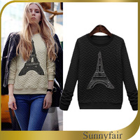 Free Shipping 2014 Spring Women Fashion Sweater Eiffel Tower Pattern Pullover Long Sleeve Sweaters