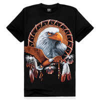 2014 New Arrival Hot Summer Fashion Indian Golden Eagle 3D Digital Print Men T-Shirts 5 Sizes:S M L XL XXL Free Shipping TS006
