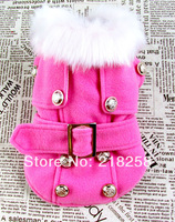 New Cute Pink European style woolen coat quilted  Pet Dogs Coat Free Shipping By china post Dogs clothes