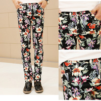 Those days male lily flower color block vintage casual pants k307 p70