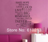 EMS free shipping 50pcs/lot Quote Vinyl Decal Removable Wall Home Decor Art Sticker Christmas gift