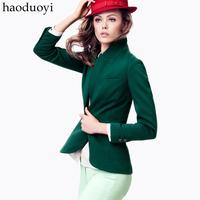 Fashion deep green slim vent casual suit female blazer haoduoyi plus size