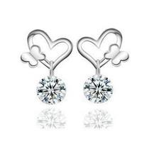Heart butterfly ear studs 925 sterling silver earrings TJ0087