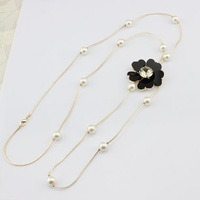 2014 New hot sale Romantic pearls flower beaded pendants long necklace for women free shipping D23