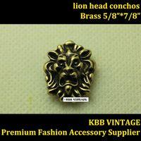 10pc Small Lion-Head Conchos Screwback Conchos Leathercraft Antique-Bronze