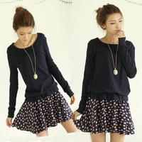 2014 spring women's  one-piece dress long-sleeve elegant plus size slim autumn basic