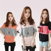 2014 spring basic shirt color block decoration 100% cotton plus size batwing shirt short-sleeve o-neck loose t-shirt