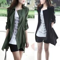 Trench outerwear women's 2014 spring slim medium-long women's plus size thin overcoat female