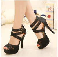 Free shipping fashion shoes 2014 summer fashion sexy high-heeled women sandals with thin Lace shoes fish head women shoes