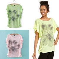 New! European Big Flowers Print Girl's Cotton T Shirts Butterfly Sleeve O Neck Woman's Casual Tops 2 Colors Free CPAM 031003