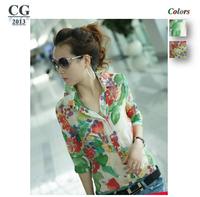Flowers Printed Half Sleeve Women's Vintage Chiffon Sheer Shirts Woman Ladies Casual Blouses Tops M~XL Plus Size#CGS008