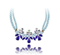 New Fashion Elegant  Light Colour Flower  Gem Necklace For Women #N1473