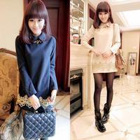 2014 spring long design woolen basic shirt women's peter pan collar long-sleeve woolen t-shirt shirt top
