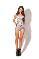 2014 New fashion Sexy Women swimwears one piece monokini tattooine digital print swimsuit D40