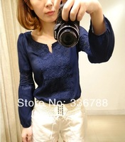 2014 Spring New Women Wild Lace Stitching Solid Blue and White Long-sleeve O-neck Chiffon Blouse