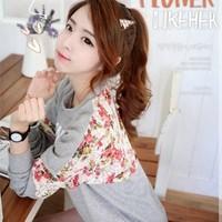 2014 spring basic shirt HARAJUKU casual lace embroidery flowers cutout o-neck T-shirt female