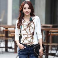 2014 spring women t-shirt female long-sleeve slim chiffon top basic print shirt plus size shirt