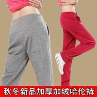 2014 spring plus velvet thickening women's casual pants wide leg pants harem pants plus size skinny pants female