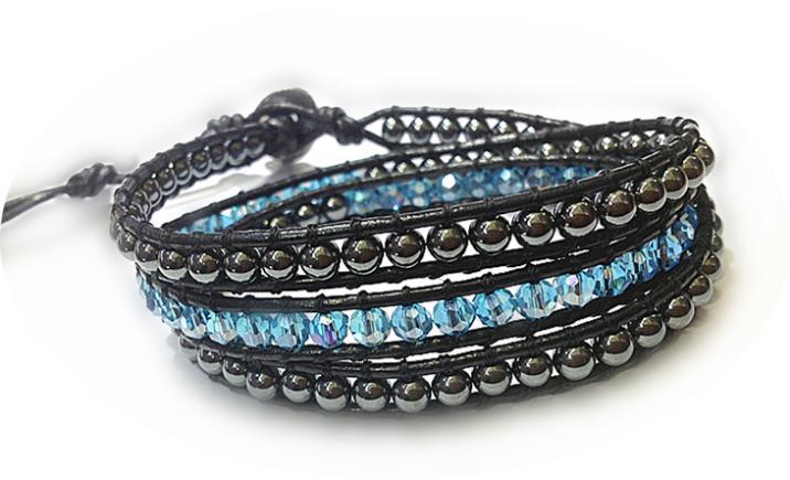 wholesale gothic style weaving shambhala leather bracelet wrap Hematite and crystal bead bangle bracelet jewelry free shipping(China (Mainland))