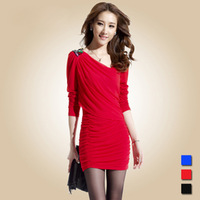 2014 the new women's club sexy hip package temperament self-cultivation nail bead false two dress son