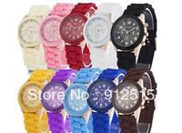 5pcs/lot Casual Watch Geneva Unisex Quartz watch 11color men women Analog wristwatches Sports Watches Rose Gold Silicone watches