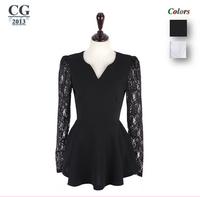 Women's Korea Style Flared Peplum Sexy Shirts HOT Style Lace Sleeve Blouses Shirts Tops S~XXL Plus Size Freeshipping#CGS013