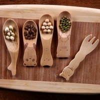 NEW creative catoon style wood  spoon for salad ice cream