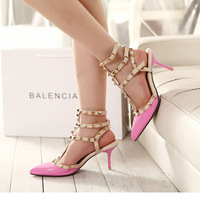 Free shipping quality  rivet pointed toe high-heeled shoes single shoes women's shoes leather sandals belt