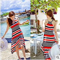 New Fashion Korean Silk Ice Slim V Collar One-piece Dress Sexy Sleeveless Beach Dress Free Shipping