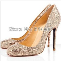 2014 Spring women rhinestone small round toe pumps ladies crystal high heel dress shoes wedding party shoes size 42