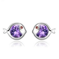 Pop fish Sterling silver ear stud TJ0056