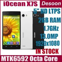 Original iocean X7S Elite MTK6592 1.7GHz octa core smart phone 5inch 1920x1080pixel 2GB RAM 16GB rom 13.0MP camera/vicky