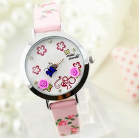 Mini world new 2014 brand women watch rose butterfly polymer clay flower leather strap women casual dress watch
