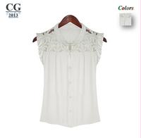 2014 New Fashion Star Woman Elegant Lace Chiffon Shirt Womens Blouse S M L XL Plus Size White Retail/Wholesale #CGS005