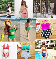 New 2014 Brand Swimwear Women Push Up Bikini Vintage Swimsuit High Waist Sexy Bikinis Set Pad Inside Bathing Suit Free Shipping