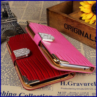 New arrival luxury bling Croc grain PU leather Diamond buckle cover wallet cell phone bag case for samsung galaxy note 3 N9000