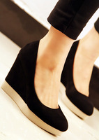 Queen princess shoes 14 sweet velvet comfortable wedges high-heeled shoes single shoes female