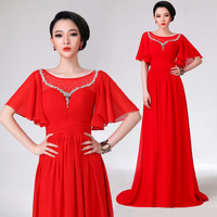 2014 red slit neckline evening dress the bride evening dress long formal design long-sleeve dress