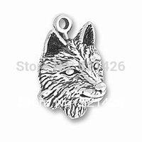 Free Shipping Antique Silver Fashion Animal Elegant Animal Power Wolf Head Charm 184434