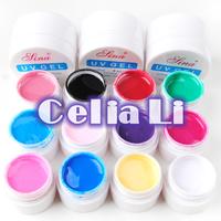 Nail gel Pro 3 colors UV Gel solid / transparent  / white gel Builder + 12 colors pure uv gel polish Nail ART tools Set kit 440