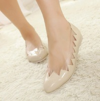 2014 new arrival Lady pointed toe transparent flat shoes women spring summer Asakuchi shoes big large size 35-43 free shipping