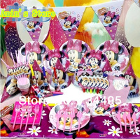New 78pcs Luxury Kids Birthday Party Decoration Set cute cartoon Minnie  Mouse Theme Party Supplies Baby Birthday Party Pack