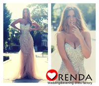 Free Shipping Hot Selling New Arrival 2014 Sweetheart Heavy Beads Sliver Luxurious Romantic Evening Prom Dresses Orenda