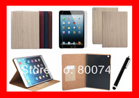 Classical Wooden Grain Case For iPad Air Cover Stand Tablet Leather Cover For Apple iPad 5 Air+1Protector+1Stylush